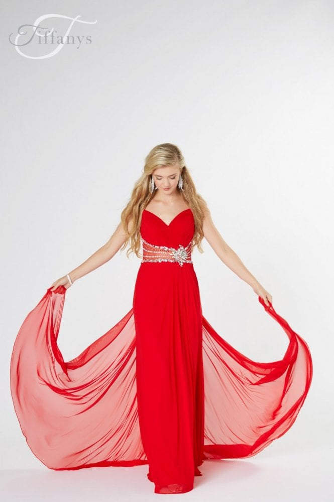 Tiffanys Illusion Prom Red Harriet ruched chiffon Prom Dress