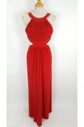 Red Hillary Open Back Cut Away Side Dress