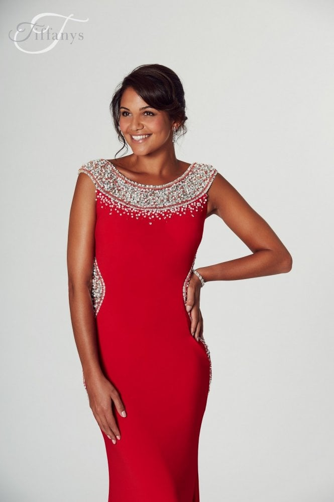 Tiffanys Illusion Prom Red Izzy beaded neckline Prom Dress