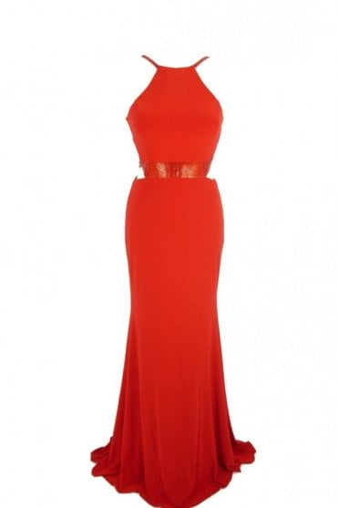 Red Lorna bead detailed open strap back dress