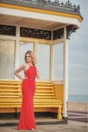 Tiffanys Illusion Prom Red Lorna bead detailed open strap back dress