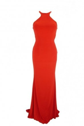 Red Luna long jersey halter neck tie back dress