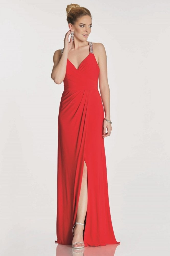 Tiffanys Illusion Prom Red Marcie beaded cross back strap dress