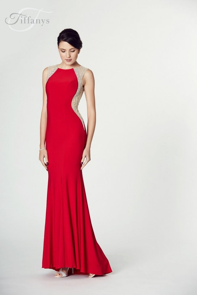 Tiffanys Illusion Prom Red Mila Jersey Open Back Gown