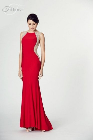 Red Mila Jersey Open Back Gown