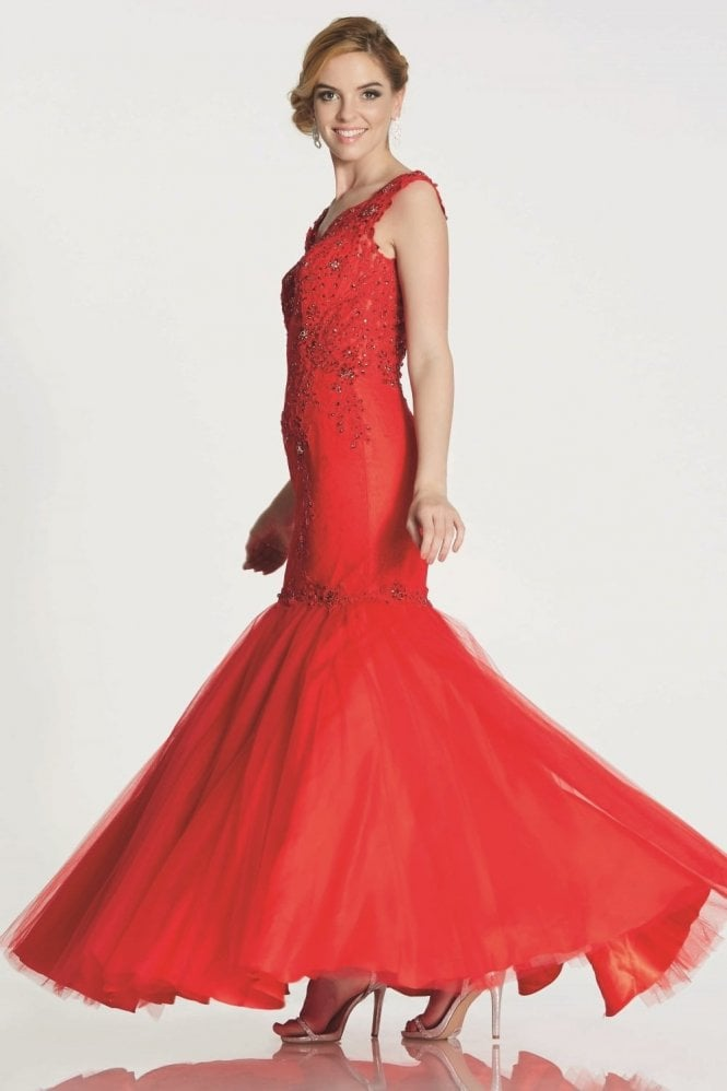 Tiffanys Illusion Prom Red Nina embroidery detail mermaid style gown