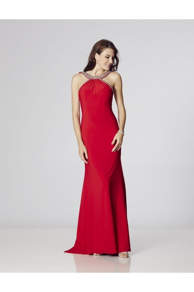Tiffanys Illusion Prom Red Paula Low Back Dress with Crystal trim