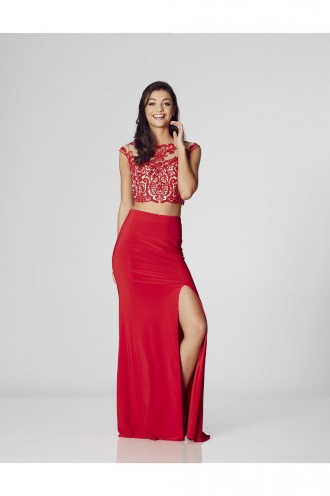 Tiffanys Illusion Prom Red/Red Belinda Two Piece Gown