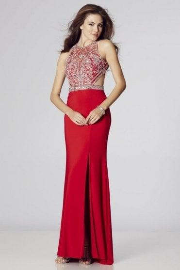 Red Samira beaded open back tie gown