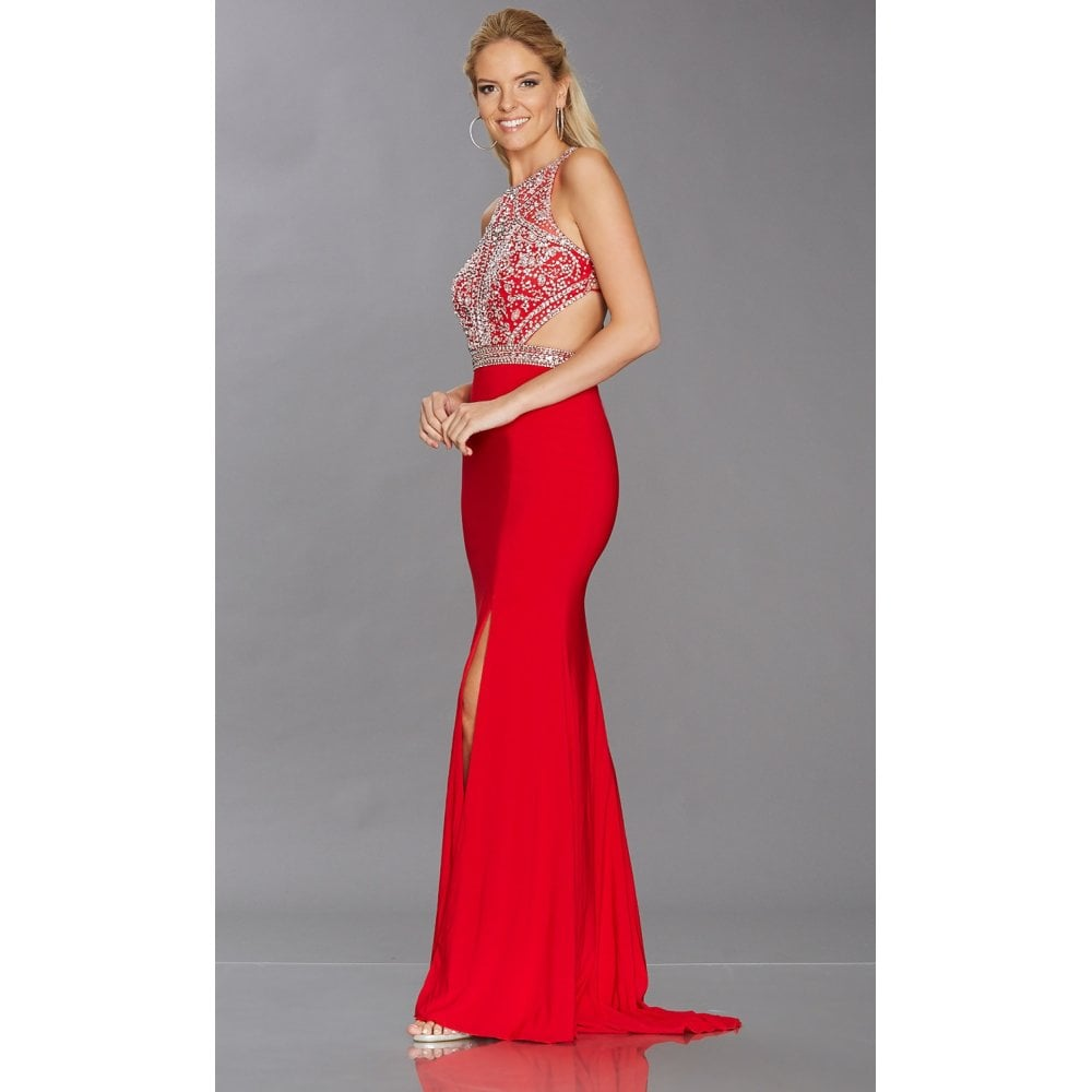 d40fcf185661 Red Sequin Top Prom Dress
