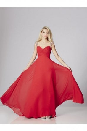Red Sonia Chiffon Dress with crystal straps