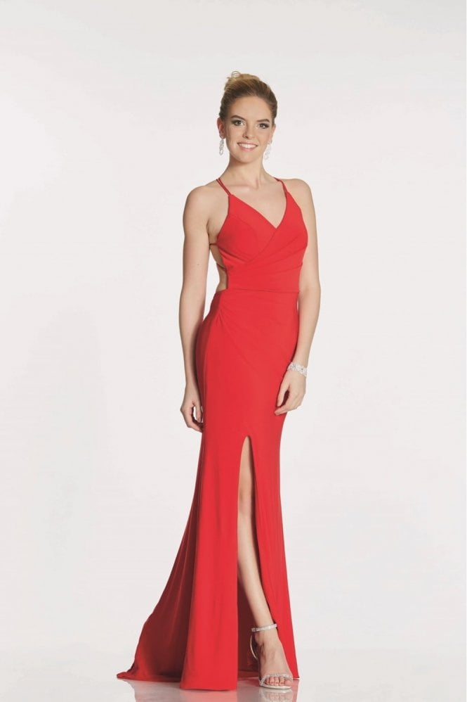 Tiffanys Illusion Prom Red Tara Jersey Crossover Back Evening dress