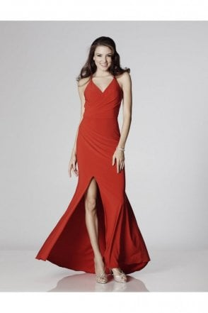 Red Tara Jersey Crossover Back Evening dress