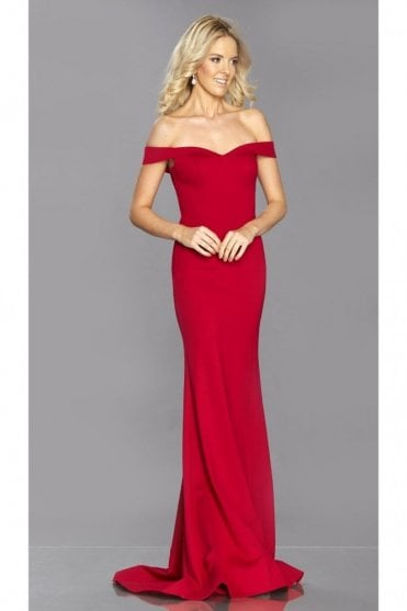 Red Vivienne fitted bardot neckline dress
