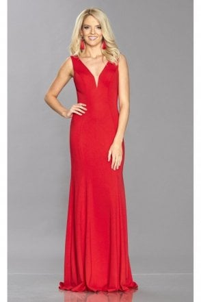 Red Zara jersey plunge dress