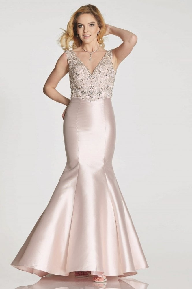 Tiffanys Illusion Prom Rose Tamzen fitted fishtail dress with jewelled bodice