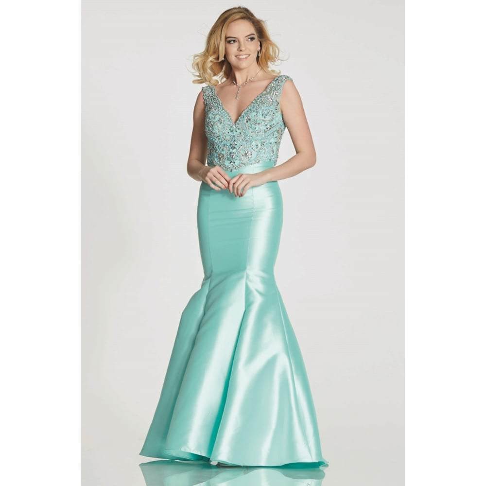 Tiffanys Tamzen Mermaid dress with beaded bodice top in Pale Pink