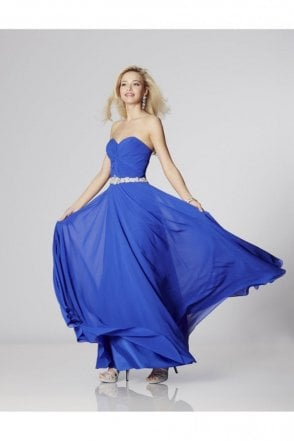 Royal Blue Amanda Chiffon Strapless Evening Gown