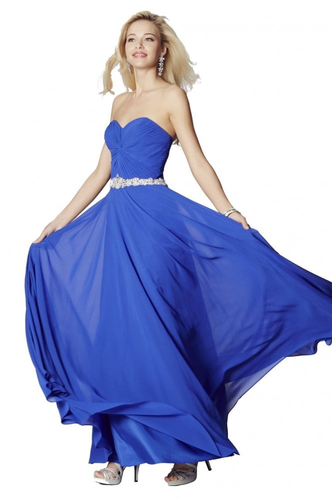 Tiffanys Illusion Prom Royal Blue Amanda Chiffon Strapless Evening Gown
