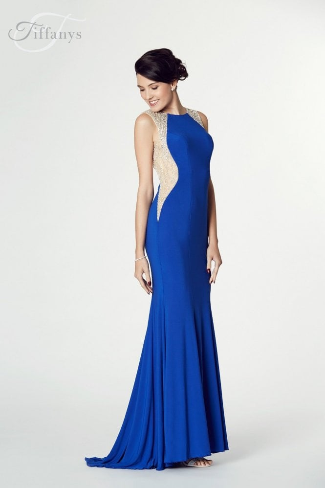 Tiffanys Illusion Prom Royal Blue Mila Jersey Open Back Gown