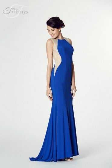 Royal Blue Mila Jersey Open Back Gown