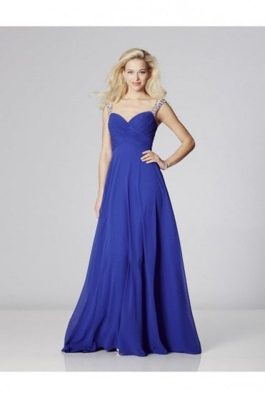 Royal Blue Sonia Chiffon Dress with crystal straps