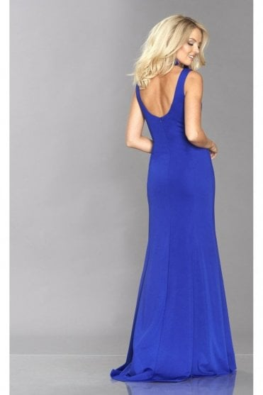 Royal Blue Zara jersey plunge dress