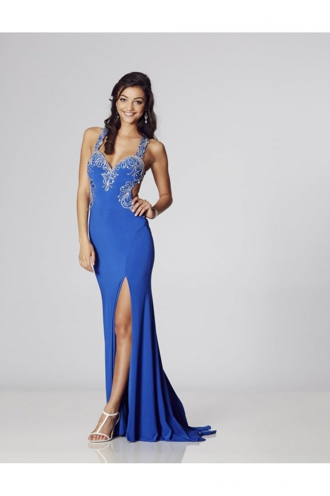 Tiffanys Illusion Prom Royal Carla Jersey Backless Gown