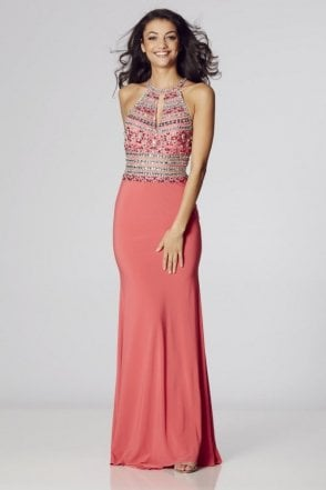 Salmon Avanna beaded halterneck gown