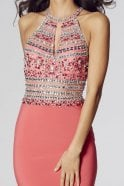 Tiffanys Illusion Prom Salmon Avanna beaded halterneck gown