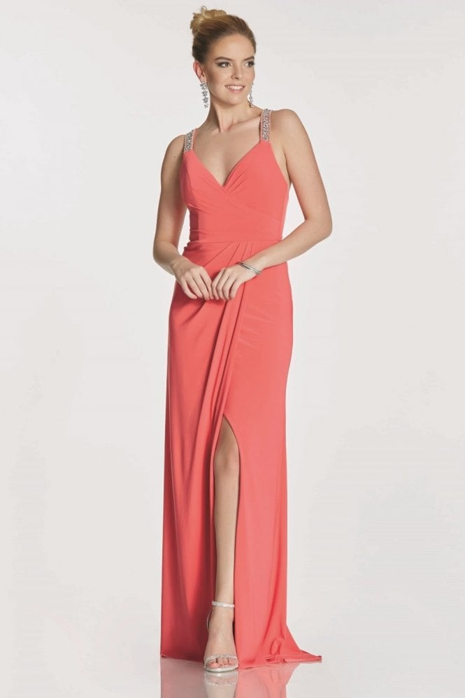 Tiffanys Illusion Prom Salmon Marcie beaded cross back strap dress