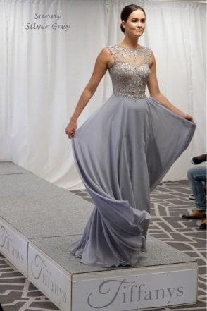 Silver Sunny sheer & crystal chiffon gown