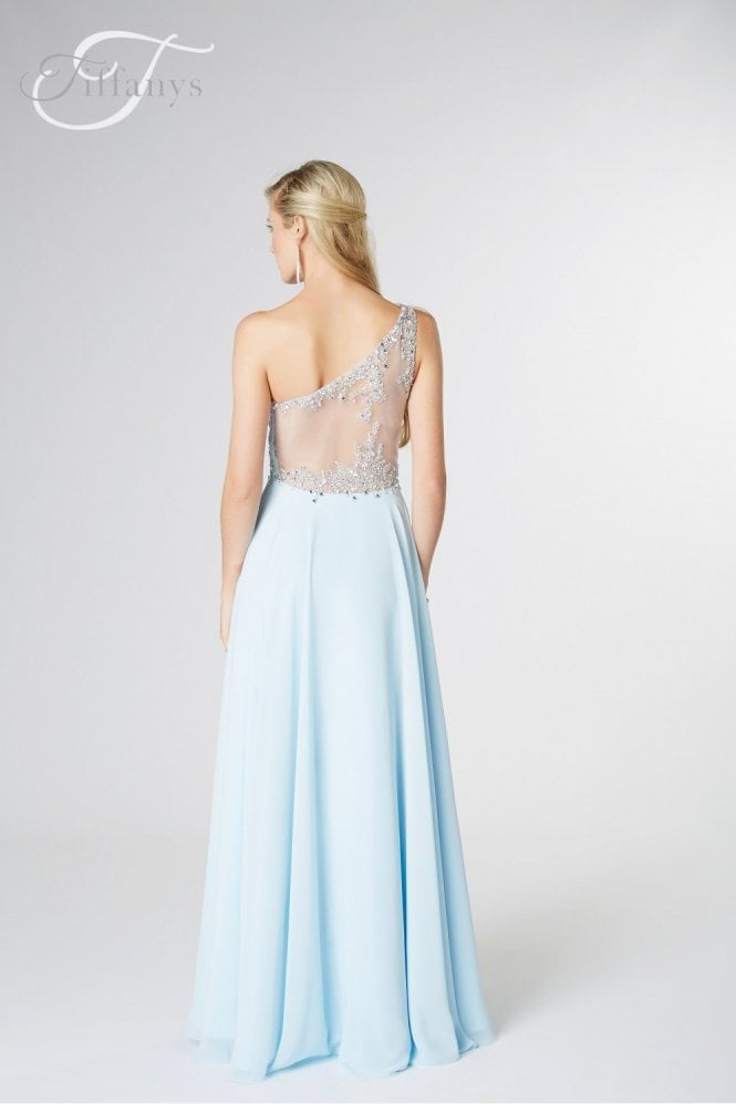 Tiffanys Illusion Prom Sky Blue Peyton one shoulder Prom Dress