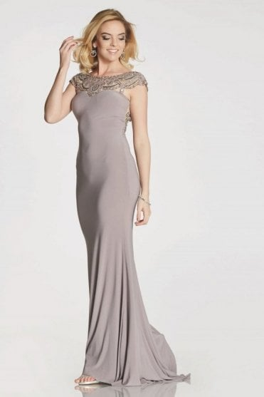 Stone Lorraine low back sweetheart gown