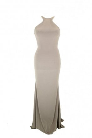 Stone Luna long jersey halter neck tie back dress
