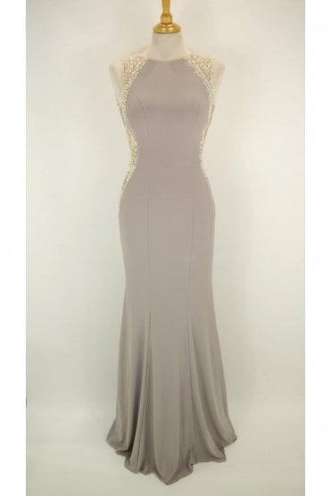 Stone Mila jersey open back long gown