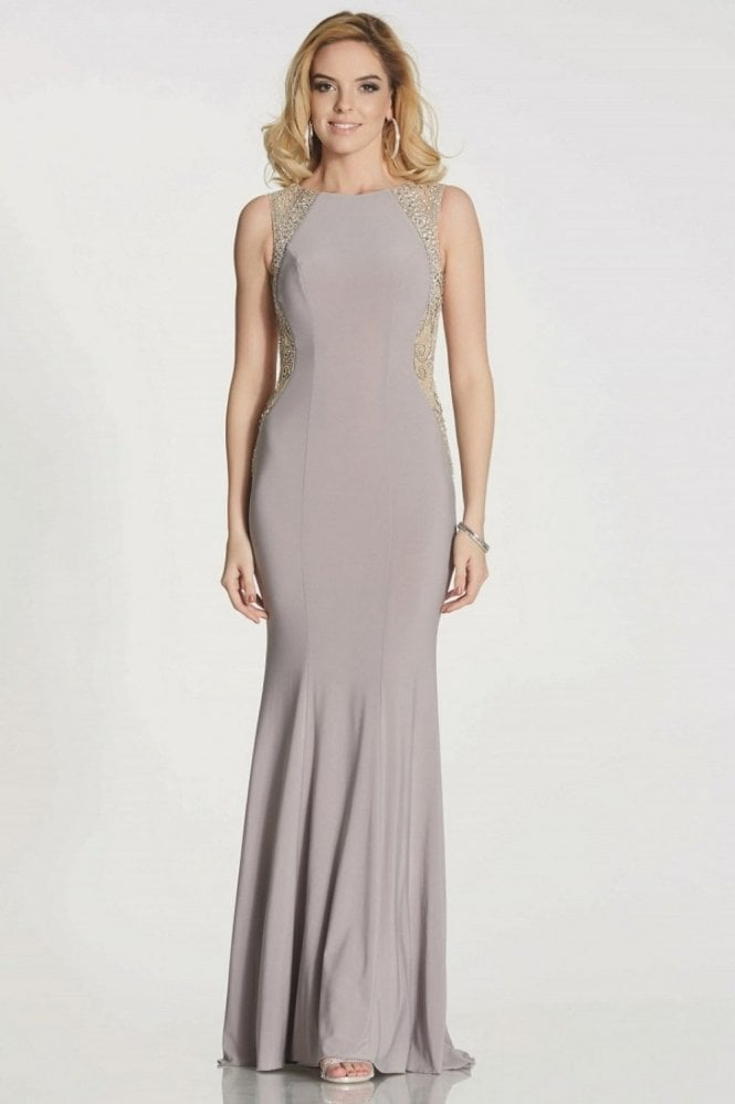Tiffanys Illusion Prom Stone Mila jersey open back long gown