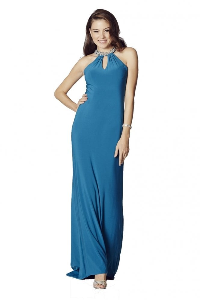 Tiffanys Illusion Prom Teal Abbie Jersey Long Prom Dress