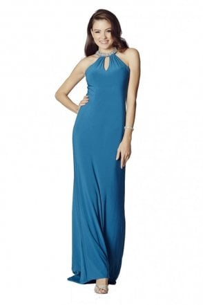 Teal Abbie Jersey Long Prom Dress