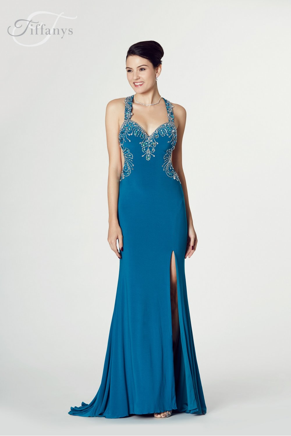 Tiffany Illusion Teal Carla Prom Jersey dress with beaded bodice