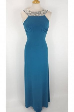 Teal Chicago Jewelled Evening gown