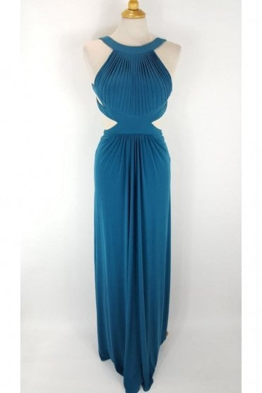 Teal Hillary Open Back Cut Away Side Dress