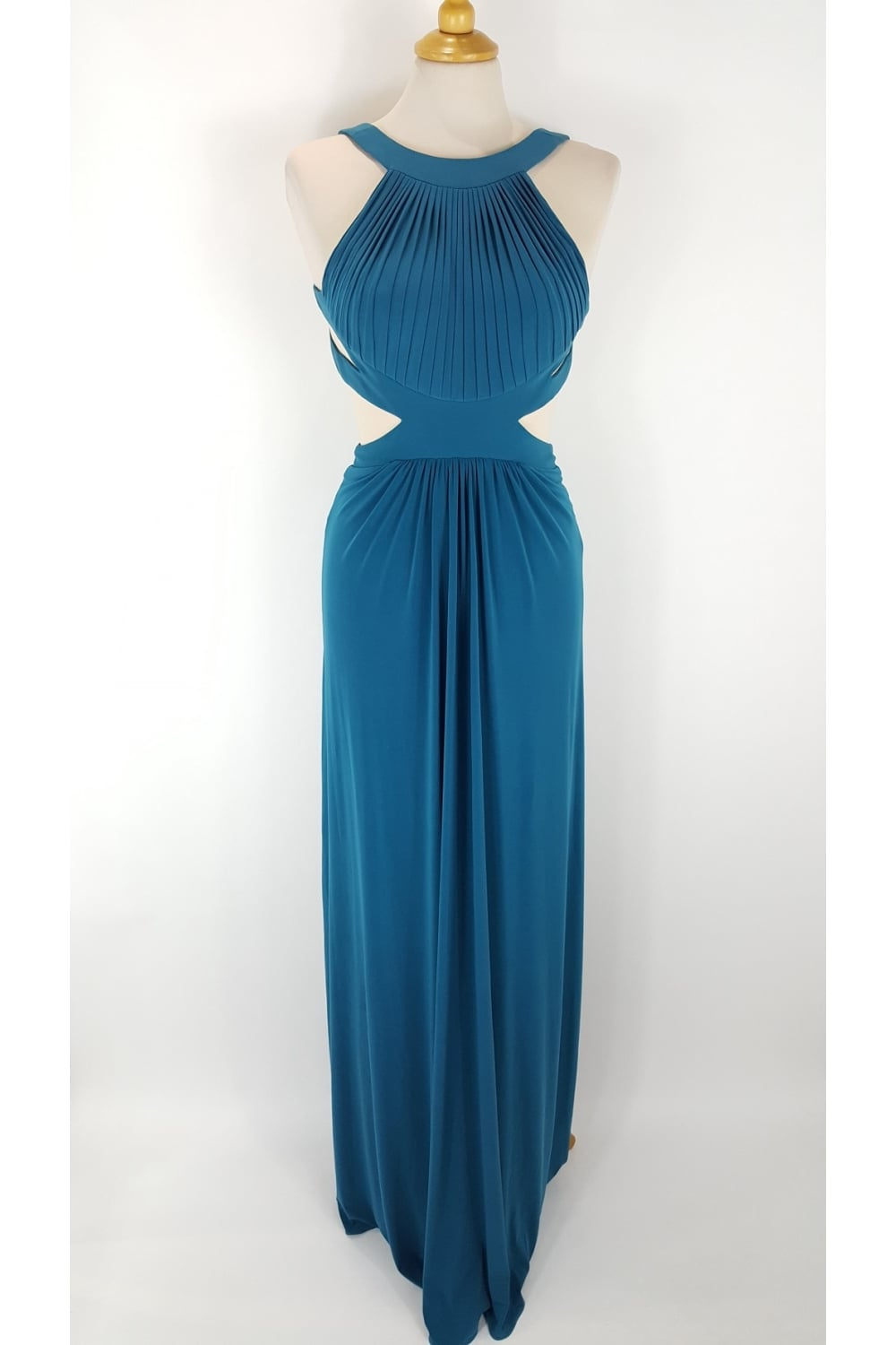 Tiffanys Illusion Prom Hillary OPen back cut away side dress in Teal