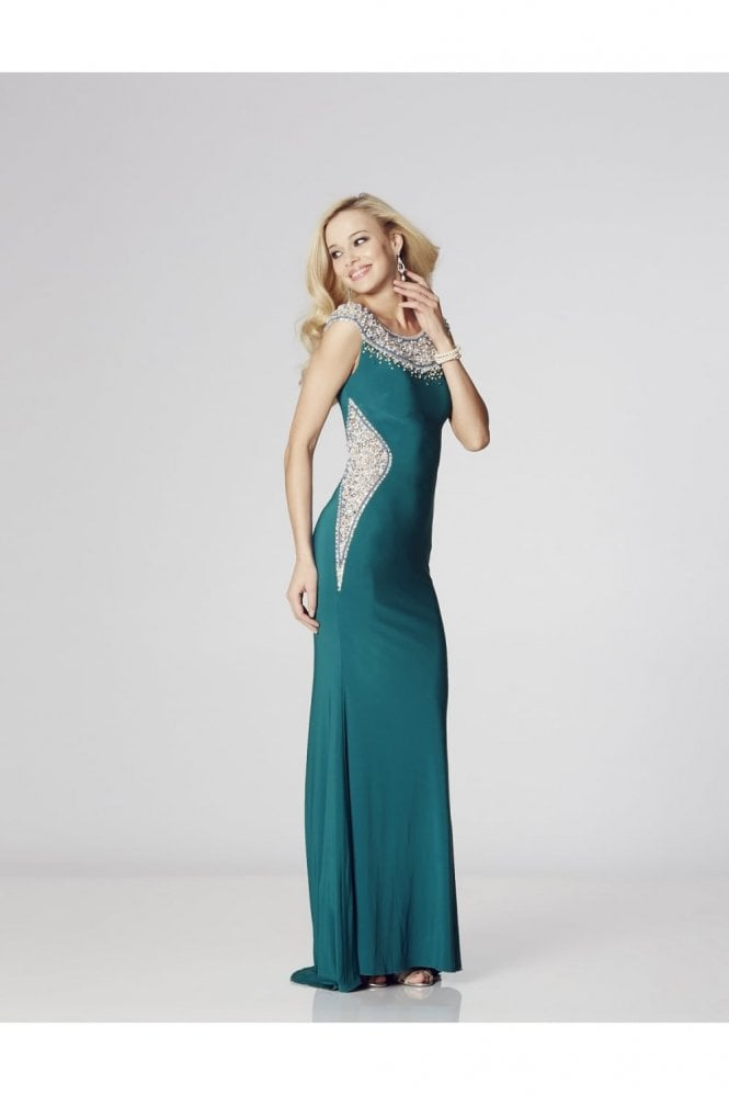 Tiffanys Illusion Prom Teal Izzy beaded neckline Prom Dress