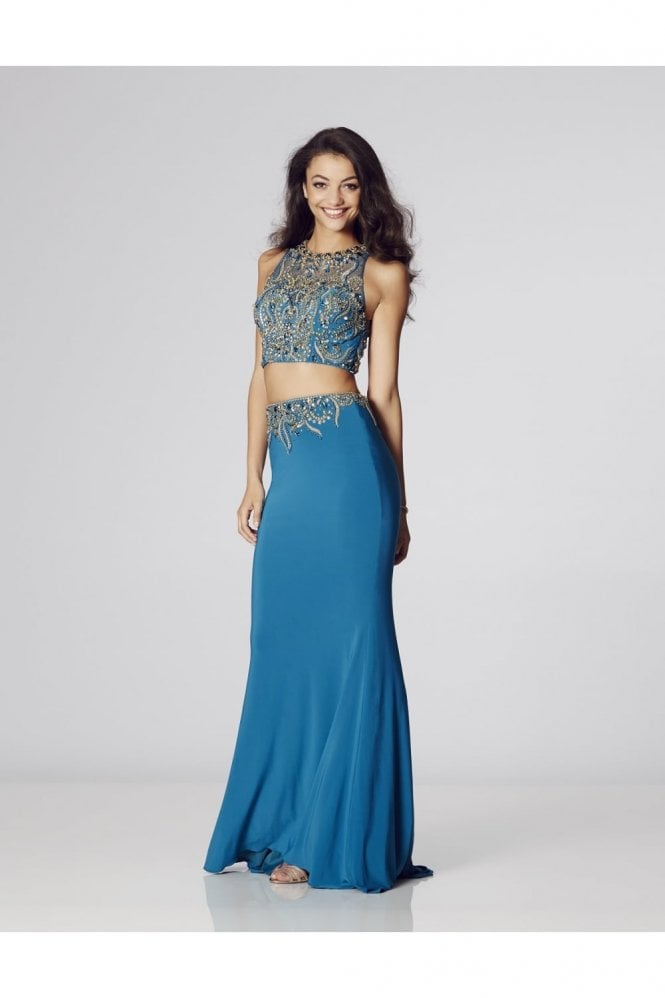 Tiffanys Illusion Prom Teal Lorena Beaded Two Piece Gown