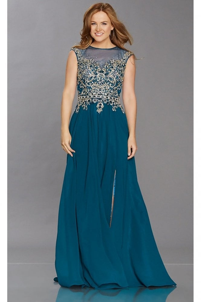 Tiffanys Illusion Prom Teal Pippa crystal embellished dress