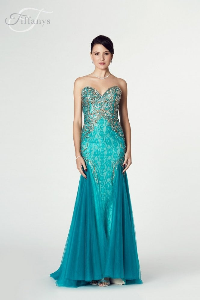 Tiffanys Illusion Prom Teal Ronnie Beaded Mermaid Style Gown