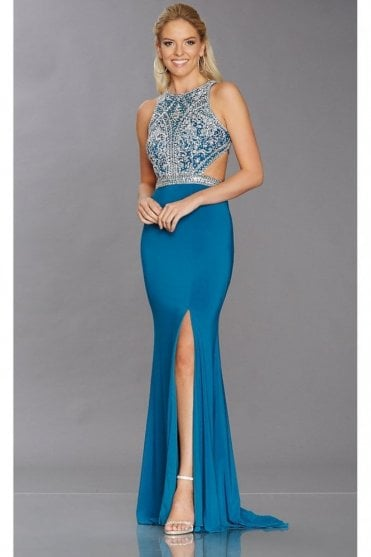 Teal Samira sparkly open back top dress