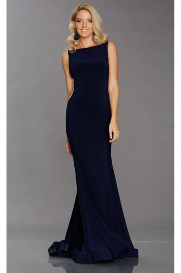Tiffany Illusion Brooke Navy Low Back Gown