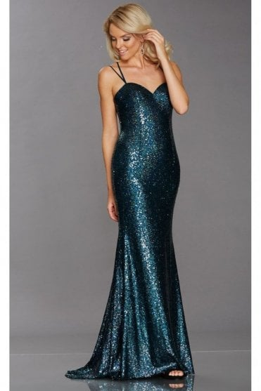 Tiffany Illusion Cali Peacock Sequinned Sweetheart Gown